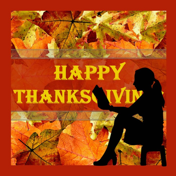 Happy Thanksgiving Image with frame & Reading Girl