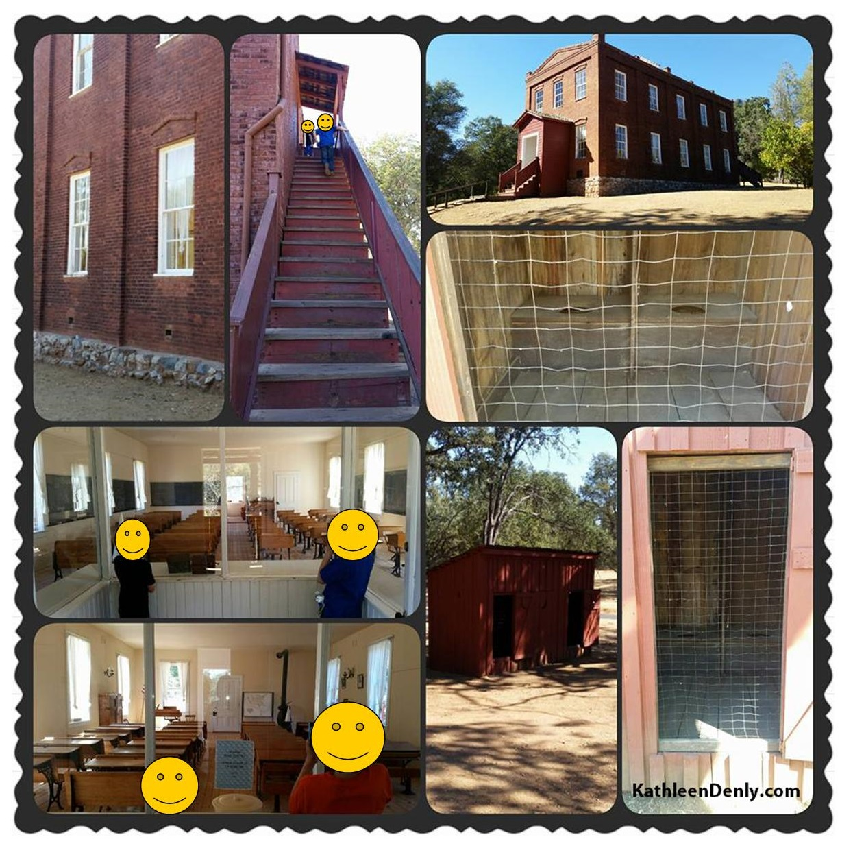 Photo collage of the historic schoolhouse in Columbia, Ca and its accompanying outhouse. Photos taken by Kathleen Denly