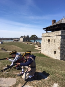 Colonial soldiers at Fort Niagara (My grandsons)