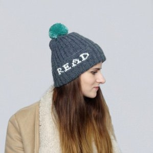 Gray Read Beanie with Puff Ball