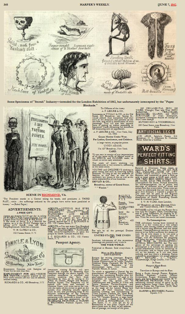 Harper's Weekly June 7 1862 - Full Page not full edition
