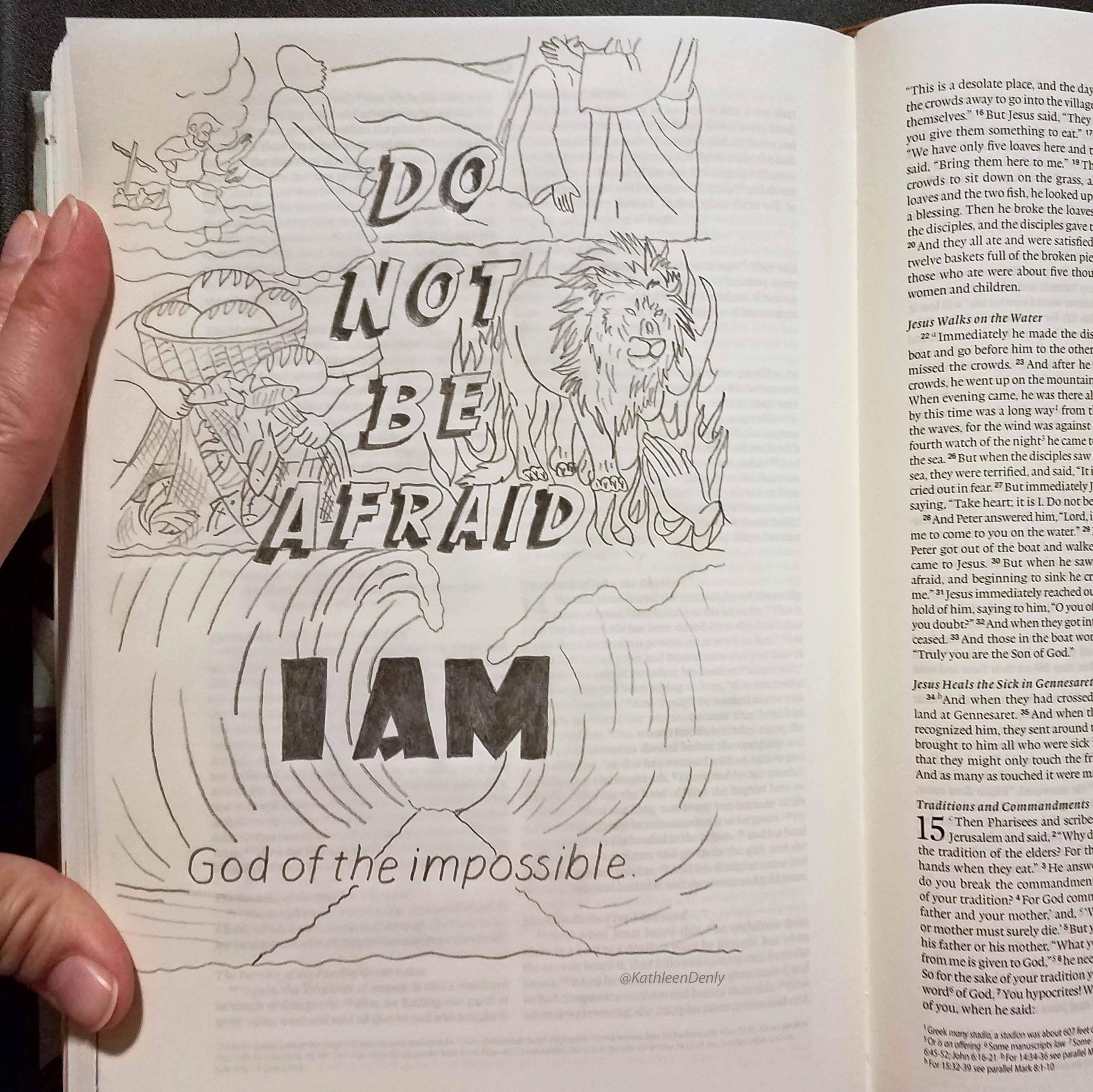 Do Not Be Afraid - Bible Journaling Line Art